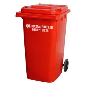 240 Litre Red Wheelie Bin